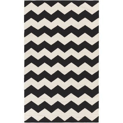 Murguia Black Chevron Area Rug Rug Size: Rectangle 3' x 5'