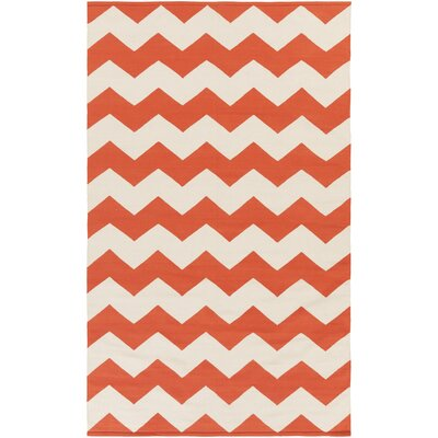 Vogue Orange Chevron Collins Area Rug Rug Size: 2 x 3