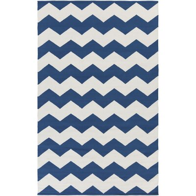 Vogue Navy Chevron Collins Area Rug Rug Size: 2 x 3