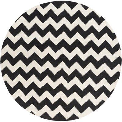 Ayler Black & Ivory Chevron Area Rug Rug Size: Round 6