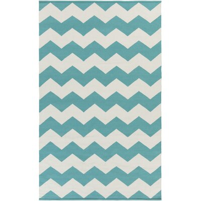 Vogue Teal Chevron Collins Area Rug Rug Size: 4 x 6