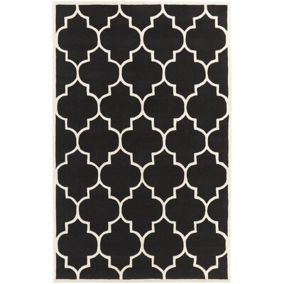 Ayler Black Geometric Area Rug Rug Size: Rectangle 76 x 96