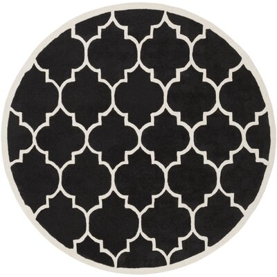Transit Black Geometric Piper Area Rug Rug Size: Round 6
