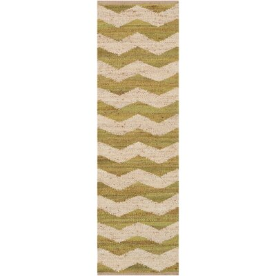 Ayers Hand Woven Green/Ivory Area Rug Rug Size: Runner 23 x 12