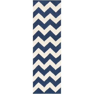 Ayler  Navy & Ivory Chevron Area Rug Rug Size: Runner 23 x 12