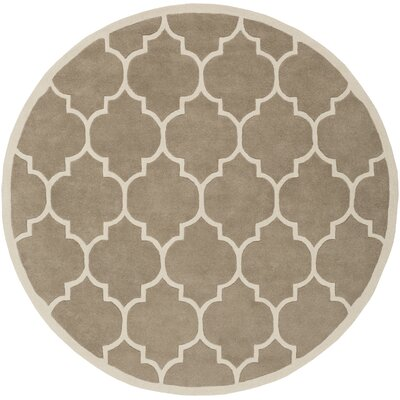 Transit Beige Geometric Piper Area Rug Rug Size: Round 36