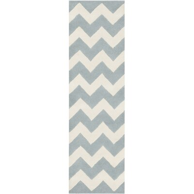 Ayler Blue/Ivory Chevron Area Rug Rug Size: Runner 23 x 12