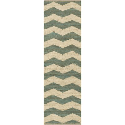 Ayers Teal/Ivory Area Rug Rug Size: Runner 23 x 12