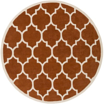 Ayler Orange Geometric Area Rug Rug Size: Round 6