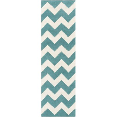 Transit Teal/Ivory Chevron Penelope Area Rug Rug Size: Runner 23 x 14