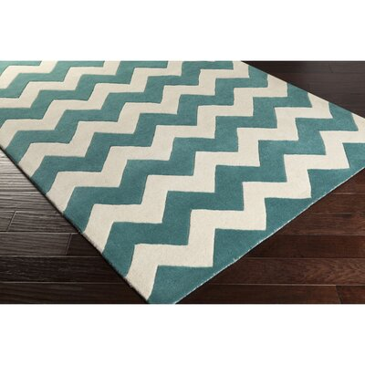 Ayler Teal/Ivory Chevron Area Rug Rug Size: Rectangle 76 x 96
