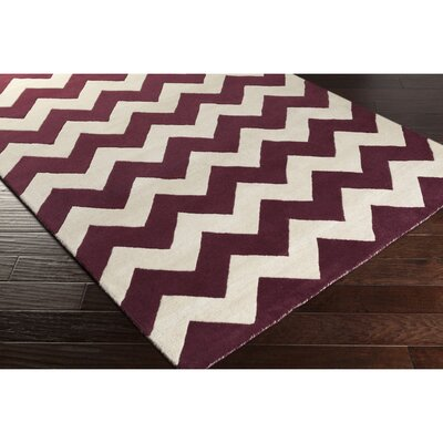 Ayler Purple/Ivory Chevron Area Rug Rug Size: Rectangle 76 x 96