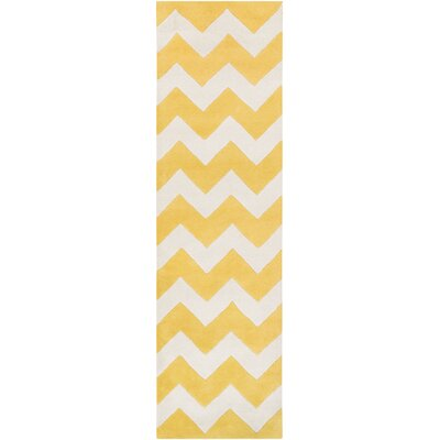 Ayler Yellow/Ivory Chevron Area Rug Rug Size: Runner 23 x 14