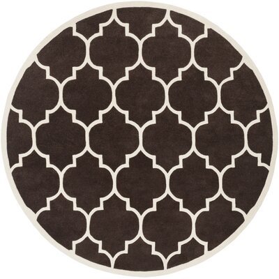 Ayler Brown Geometric Area Rug Rug Size: Round 36