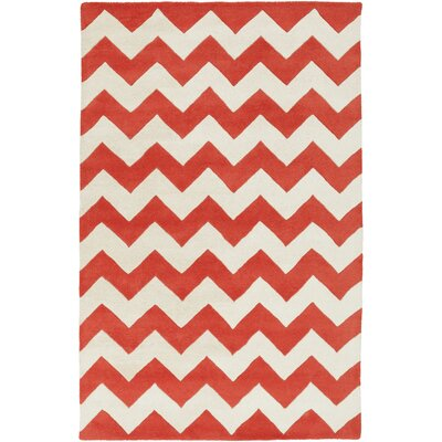 Ayler Orange / Ivory Chevron Area Rug Rug Size: Round 6