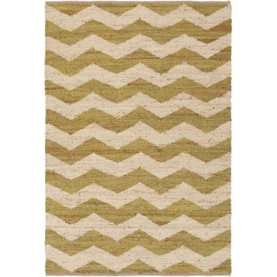Ayers Hand Woven Green/Ivory Area Rug Rug Size: Rectangle 4 x 6