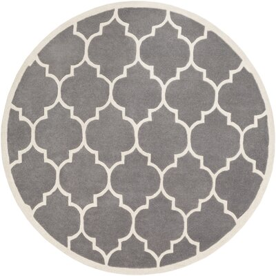 Ayler Charcoal Geometric Area Rug Rug Size: Round 6