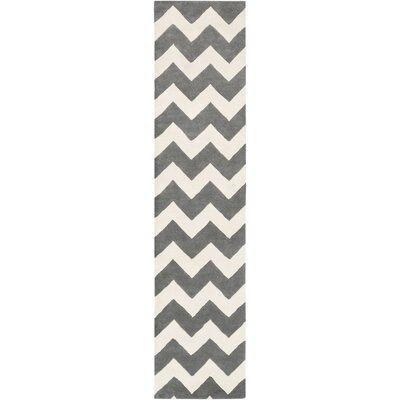 Ayler Grey & Ivory Chevron Area Rug Rug Size: Runner 23 x 10