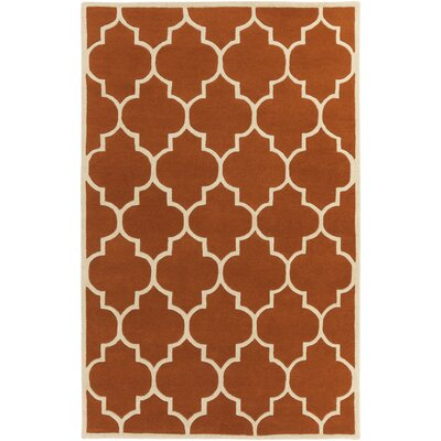 Ayler Orange Geometric Area Rug Rug Size: Rectangle 4 x 6