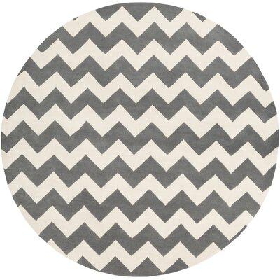 Ayler Grey & Ivory Chevron Area Rug Rug Size: Round 6