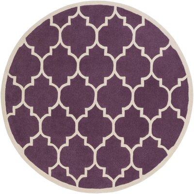 Ayler Purple Geometric Area Rug Rug Size: Round 36