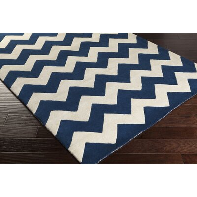 Ayler  Navy & Ivory Chevron Area Rug Rug Size: Rectangle 9 x 13