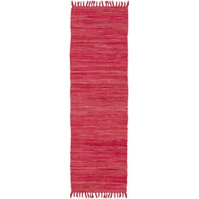 Destefano Hand Woven Cotton Red Area Rug Rug Size: Runner 11 x 6
