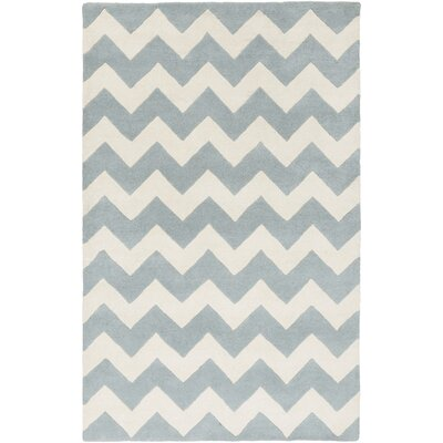 Ayler Blue/Ivory Chevron Area Rug Rug Size: Rectangle 76 x 96
