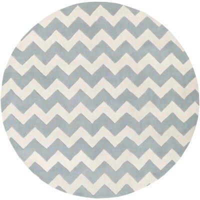Ayler Blue/Ivory Chevron Area Rug Rug Size: Round 8