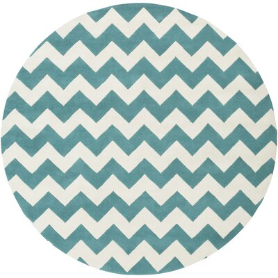 Ayler Teal/Ivory Chevron Area Rug Rug Size: Round 8