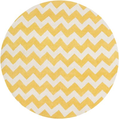 Ayler Yellow/Ivory Chevron Area Rug Rug Size: Round 6