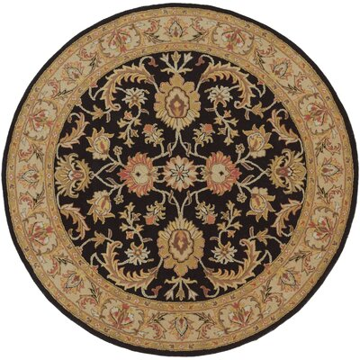 Middleton Black Virginia Area Rug Rug Size: Round 6