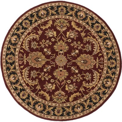 Plemmons Red Area Rug Rug Size: Round 6