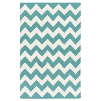 Bangor Teal Chevron Area Rug Rug Size: Rectangle 10 x 14