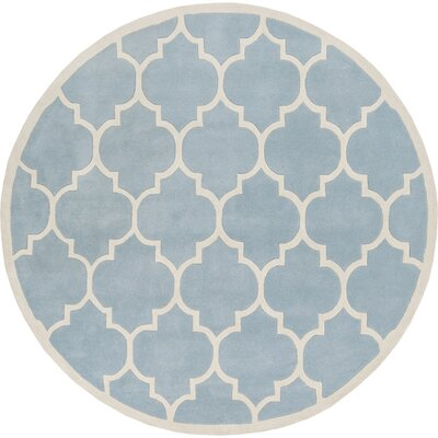 Transit Blue Geometric Piper Area Rug Rug Size: Round 6