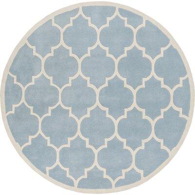 Ayler Blue Geometric Area Rug Rug Size: Round 6