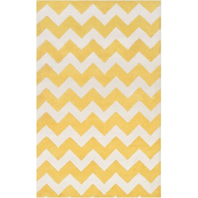Ayler Yellow/Ivory Chevron Area Rug Rug Size: Rectangle 76 x 96
