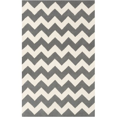 Ayler Grey & Ivory Chevron Area Rug Rug Size: Rectangle 9 x 13