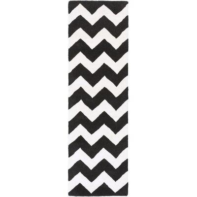 Ayler Black & Ivory Chevron Area Rug Rug Size: Runner 23 x 10