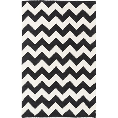 Ayler Black & Ivory Chevron Area Rug Rug Size: Rectangle 4 x 6