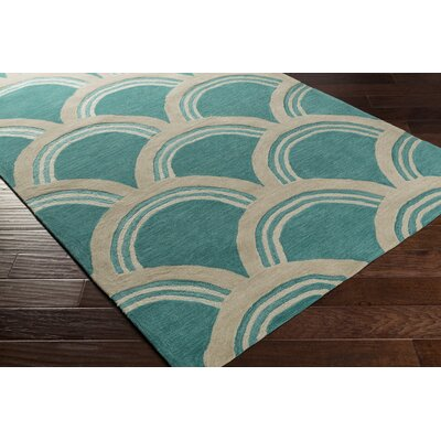 Gingras Teal/Ivory Area Rug Rug Size: Rectangle 5 x 76