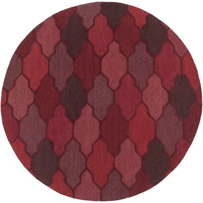 Pollack Morgan Red Area Rug Rug Size: Round 8
