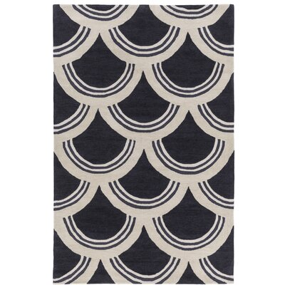 Gingras Charcoal/Ivory Area Rug Rug Size: Rectangle 5 x 76