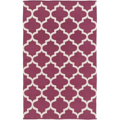 Montgomery Raspberry/Ivory Area Rug Rug Size: Rectangle 4 x 6