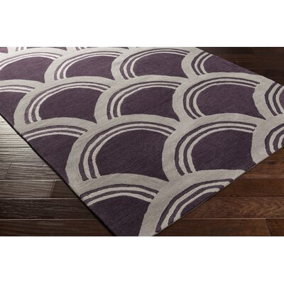 Gingras Purple/Ivory Area Rug Rug Size: Rectangle 5 x 76