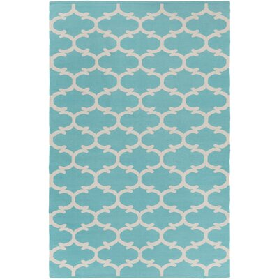 Ayles Teal/Ivory Area Rug Rug Size: Rectangle 4 x 6