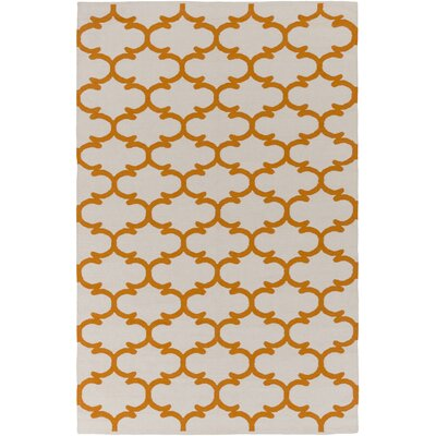Ayles Ivory/Orange Area Rug Rug Size: Rectangle 5 x 76