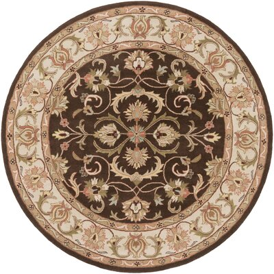Oxford Brown Aria Area Rug Rug Size: Round 8