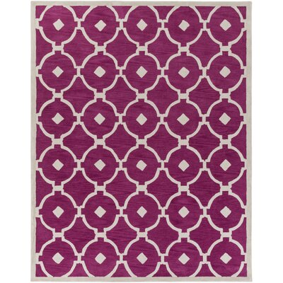 Kroeger Fuchsia/Ivory Area Rug Rug Size: Rectangle 76 x 96