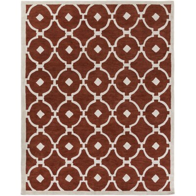 Kroeger Rust/Ivory Area Rug Rug Size: Rectangle 76 x 96
